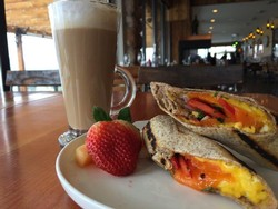 Egg & Cheese Wrap with fruit and Giobean organic coffee