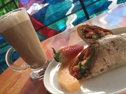 Vegan Wrap with fruit and Giobean organic coffee